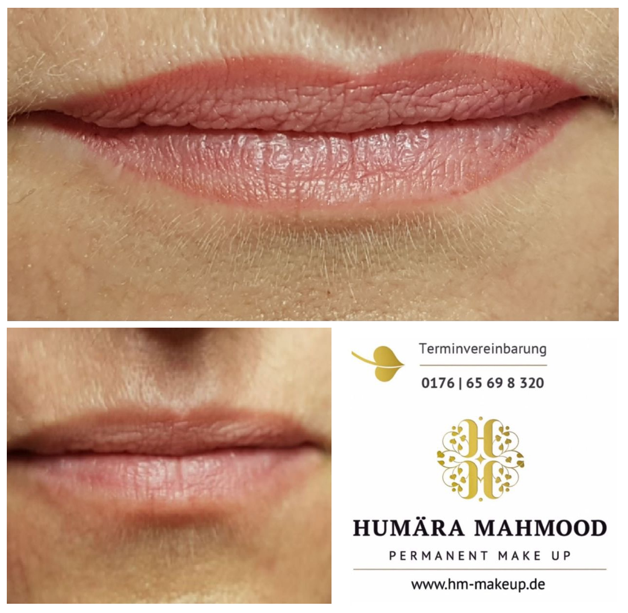 Lippen Permanent Make-up vorher nachher